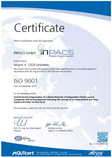 INPACS Certifications | INPACS | Global Supply Solution